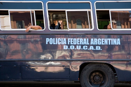 Policia Federal Argentina police officers rest in bus, Buenos Aires,Buenos Aires, Argentina, South America : Stock Photo