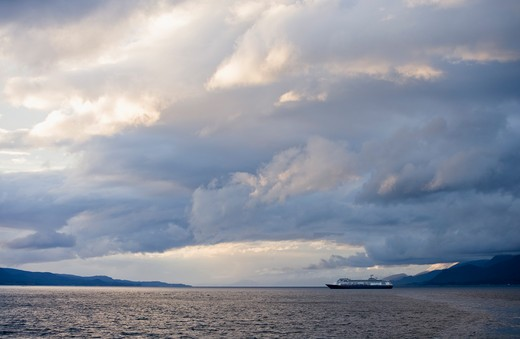 Stock Photo: 4256-1038 Cruise ship Amsterdam (Holland America Line) in Beagle Channel with storm clouds,near Puerto Williams, Tierra del Fuego, Magallanes y de la Antartica Chilena, Patagonia, Chile, South America