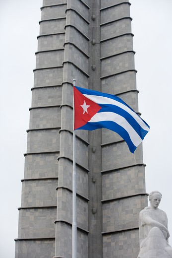 Cuban flag and Jose Marti Memorial at Revolution Square, City of Havana,Havana, Cuba, Caribbean : Stock Photo