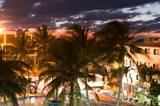 Swimming pool of Club Amigo Tropical Hotel at night,Varadero, Matanzas, Cuba, Caribbean : Stock Photo