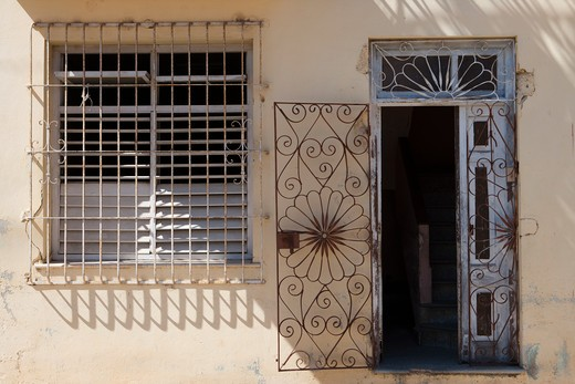 Stock Photo: 4256-1092 Entrance door to a house,Cardenas, Matanzas, Cuba, Caribbean