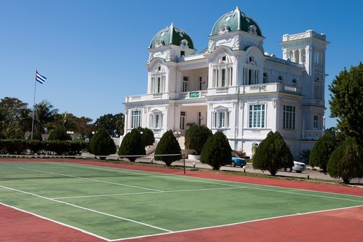 Stock Photo: 4256-1102 Club Cienfuegos tennis court and building,Punta Gorda, Cienfuegos, Cienfuegos, Cuba, Caribbean