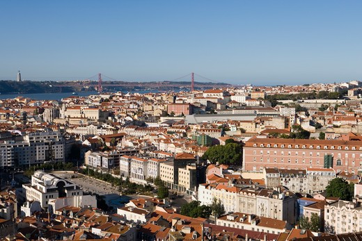 Overhead of city and Ponte 25 de Abril bridge from Miradouro da Senhora do Monte viewpoint,Lisbon, Lisboa, Portugal, Europe : Stock Photo