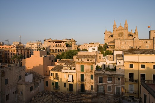 Stock Photo: 4256-1182 Sa Portella houses and La Seu Palma Cathedral seenfrom rooftop of Hotel Tres, Palma de Mallorca, Mallorca, Balearic Islands, Spain, Europe