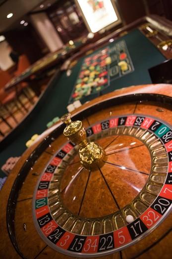 Stock Photo: 4256-1199 Roulette wheel in Casino aboard cruiseship Silver Spirit (Silversea Cruises), Atlantic Ocean, near Spain, Europe