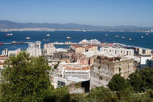Stock Photo: 4256-1207 Overhead of Gibraltar with cruiseship Silver Spirit (Silversea Cruises) at pier,Gibraltar,Gibraltar, Europe