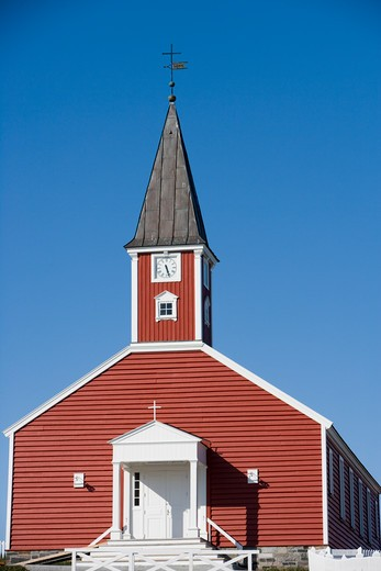 Stock Photo: 4256-1217 Low angle view ofFrelsers Kirke church,Nuuk (Godthab), Kitaa, Greenland, Europe