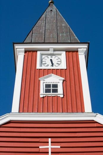 Low angle view ofFrelsers Kirke Church,Nuuk (Godthab), Kitaa, Greenland, Europe : Stock Photo