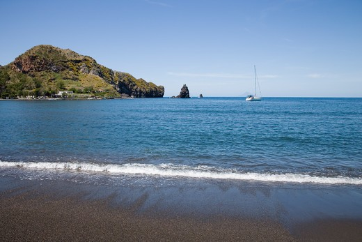 Black sand beach,Vulcano Island, near Lipari, Aeolian Islands, near Sicily, Italy, Europe : Stock Photo