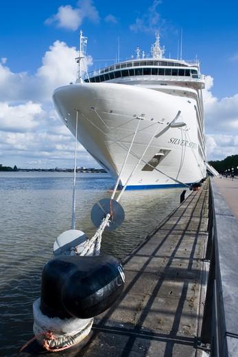 Stock Photo: 4256-1277 Cruise ship Silver Spirit (Silversea Cruises) moored along bank of river La Garonne, Bordeaux, Gironde, Aquitane, France, Europe