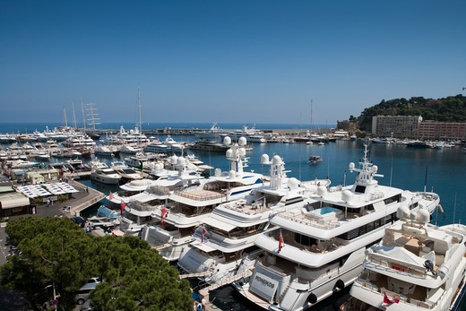 Luxury yachts in Monaco harbor, Monte Carlo, Monaco, Europe : Stock Photo