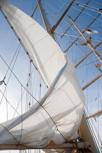Stock Photo: 4256-1288 Setting sail aboard sailing cruise ship Star Flyer (Star Clippers Cruises), Mediterranean Sea, near Calvi, Corsica, France, Europe