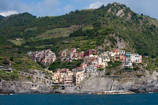 Coastal village, Cinque Terre, Liguria, Italy, Europe : Stock Photo