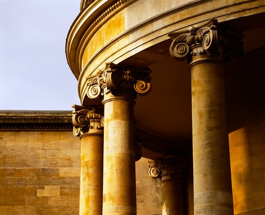 Detail of Ionic column tops at Lagham Place in London : Stock Photo