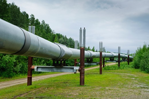 Stock Photo: 4260-1037 USA, Alaska, Alaskan oil pipeline in tundra