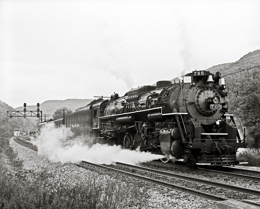 Stock Photo: 4260-1244 Steam locomotive moving on the railroad track, Meadow Creek, Summers County, West Virginia, USA
