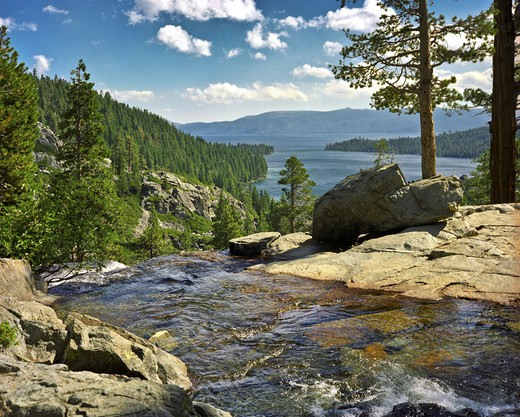 Stream flowing into a lake, Lake Tahoe, California, USA : Stock Photo