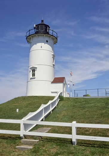 Stock Photo: 4260-1296 Lighthouse on a hill, Nobska Point Lighthouse, Woods Hole, Massachusetts, USA