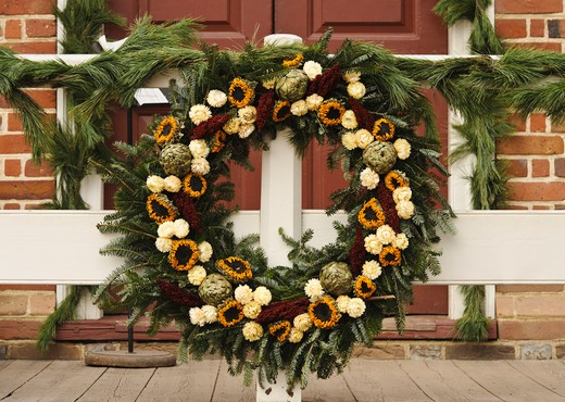 Stock Photo: 4260-1372 Handmade Christmas decorated wreaths outside a house, Williamsburg, Virginia, USA