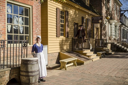 Stock Photo: 4260-1463 Actors in Colonial Williamsburg attire portraying artisans and craftsperson and using authentic era tools, Williamsburg, Virginia, USA