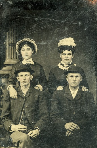 Portrait of two brothers and their wives from the mid 19th century : Stock Photo