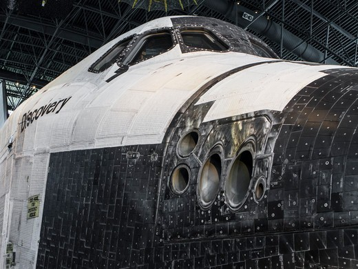 Stock Photo: 4260-1575 USA, Virginia, Dulles International Airport, Udvar-Hazy Smithsonian Air & Space Museum Annex, Detail of Space Shuttle Discovery