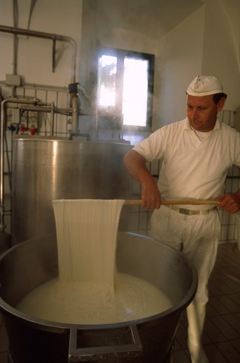 Stock Photo: 4261-1179 Spinning of the mozzarella di bufala, Italy