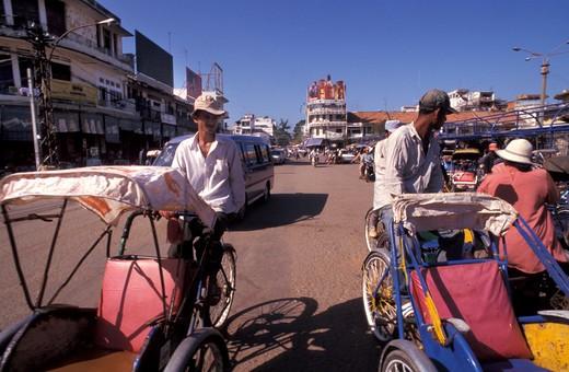 Stock Photo: 4261-12408 Rickshaw, Phnom Penh, Cambodia, Indochina, Southeast Asia, Asia