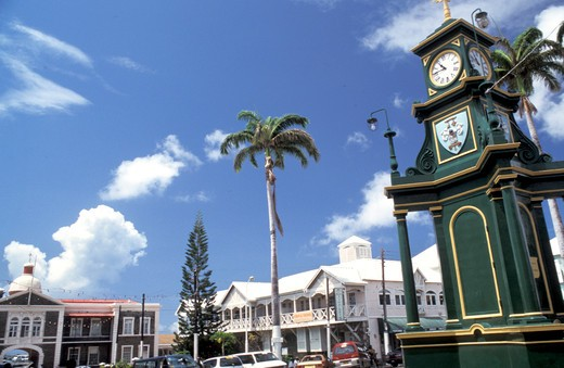 The Circus roundabout, Basseterre, Saint Kitts and Nevis, Leeward Islands, Caribbean Islands, Central America, Atlantic Ocean