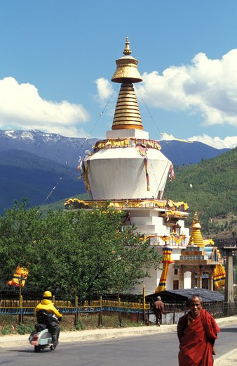 Stock Photo: 4261-12568 Memorial Stupa, Thimphu, Bhutan, Asia