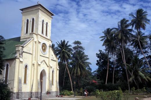 Stock Photo: 4261-12736 Church, La Digue island, Seychelles, Indian Ocean, Africa