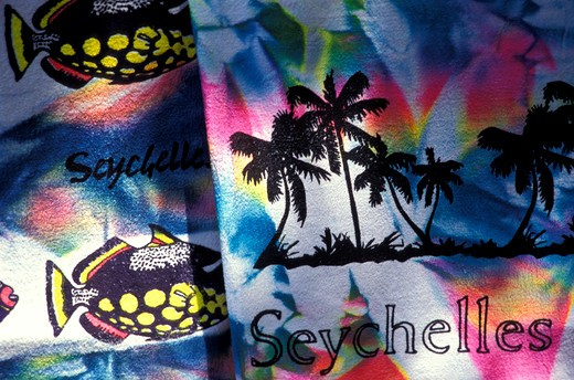 Stock Photo: 4261-12788 Beach towel, Seychelles, Indian Ocean, Africa