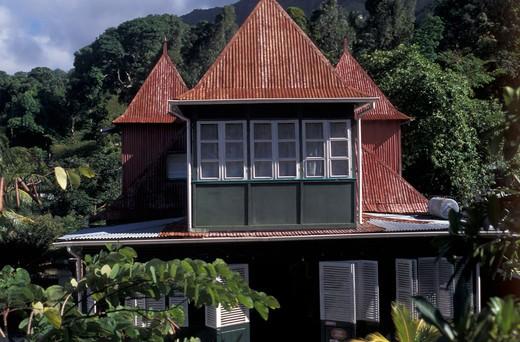Marie Antoniette restaurant, Vittoria, Mahé island, Seychelles, Indian Ocean, Africa : Stock Photo