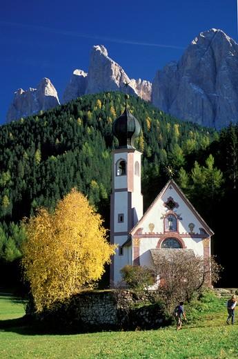 Church of S. Giovanni, Val di Funes, Alto Adige, Italy : Stock Photo