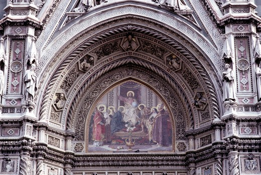 Cathedral, lunettes of the façade, Florence, Tuscany, Italy : Stock Photo