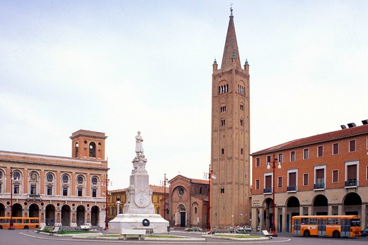 Piazza Saffi and town hall, Forlì, Emilia-Romagna, Italy : Stock Photo