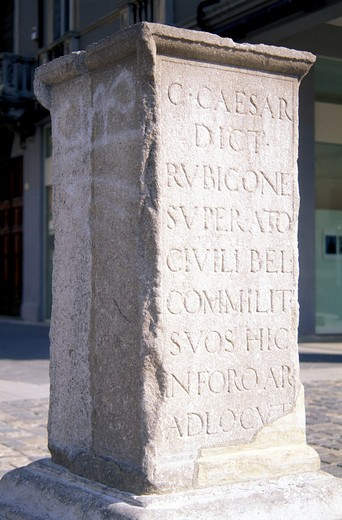 Julius Caesar's column, Rimini, Emilia-Romagna, Italy : Stock Photo