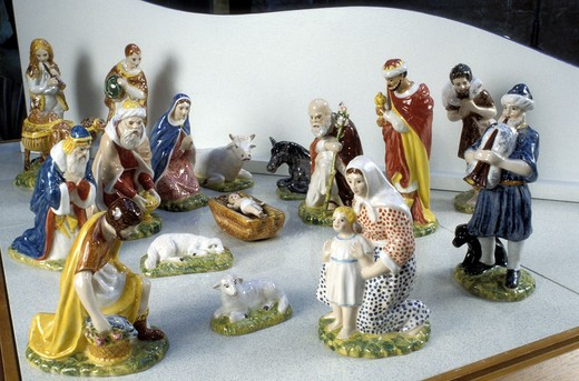 Ceramic crib, Museo del Presepe, Imola, Emilia-Romagna, Italy : Stock Photo