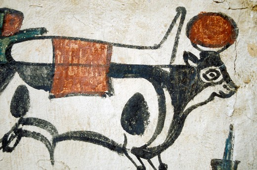 Stock Photo: 4261-15857 painting on sarcophagus, thebes viiith b.c., turin, italy
