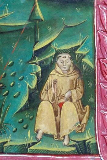 antiphonarium iv: st. francis receives stigmata, bergamo, italy : Stock Photo