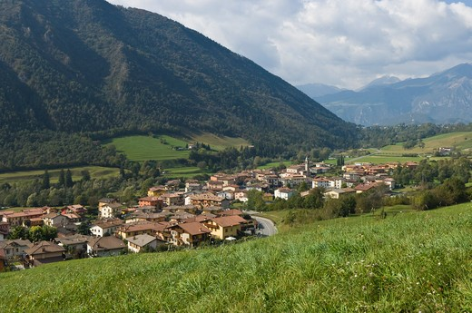 village view, cerete basso, italy : Stock Photo