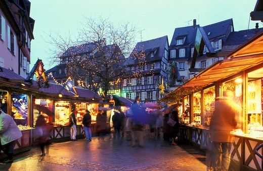 christmas market, colmar, france : Stock Photo