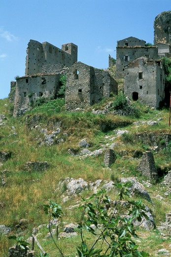 deserted san severino village, cilento national park, italy : Stock Photo