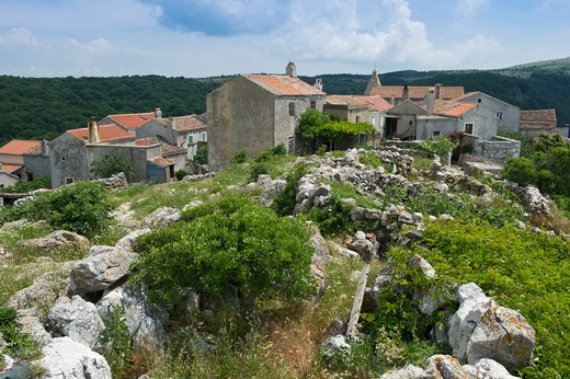 village view, cres island, croatia : Stock Photo