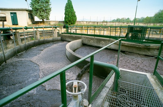 Purification plant, Calcinate, Lombardy, Italy : Stock Photo