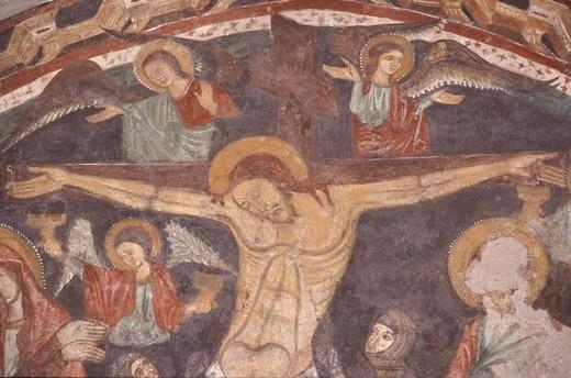 Jesus crucified, mural, Chiesa del Crocifisso, Salerno, Campania, Italy : Stock Photo