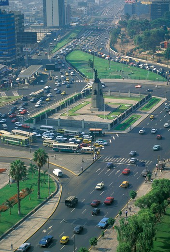 traffic jam in grau square, lima, peru : Stock Photo