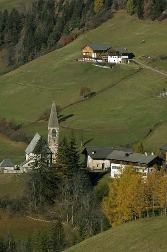 santa maddalena village, funes valley villnoss, Italy : Stock Photo