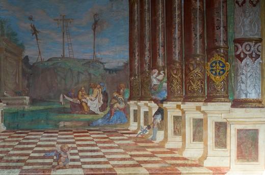 sabiona convent: santa croce church, chiusa, Italy : Stock Photo