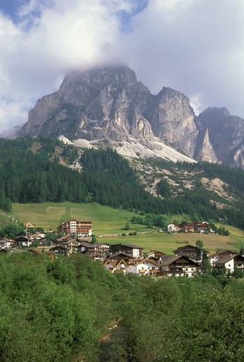 village view, corvara badia valley, italy : Stock Photo